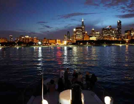 Chicago late night private dinner parties on a chartered yacht for special events, fireworks on Lake Michigan Navy pier