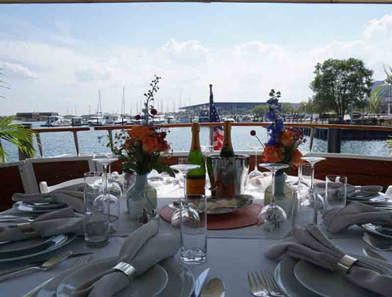 Dining on a private yacht