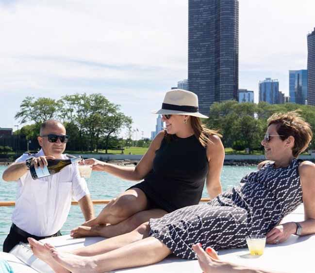 Chicago Private Yacht Rental Adeline's Sea Moose pampering