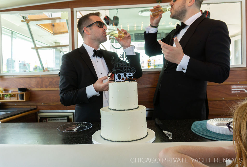 Chicago Private Yacht Rentals Wedding ceremony aboard Adeline's Sea Moose