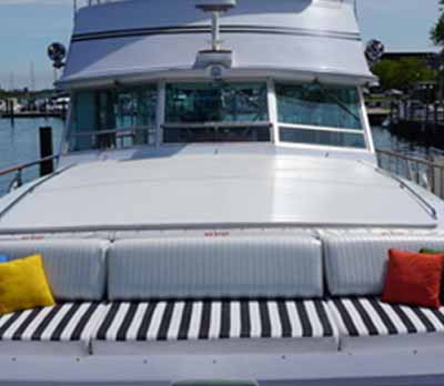 Chicago private yacht rental charter Adeline;s Sea Moose Bow Seating Sundeck Gathering Area