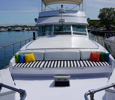 Chicago private yacht rental charter Adeline's Sea Moose Bow Seating and Sundeck
