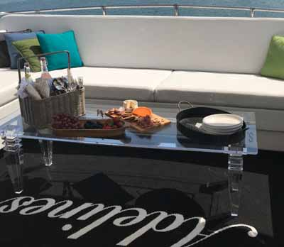Chicago private yacht rental charter Adeline's Sea Moose top deck gathering viewing area
