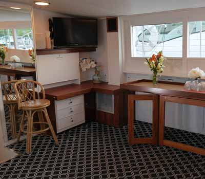 Chicago private yacht rental charter Adeline's Sea Moose Mid Deck mid deck lounge
