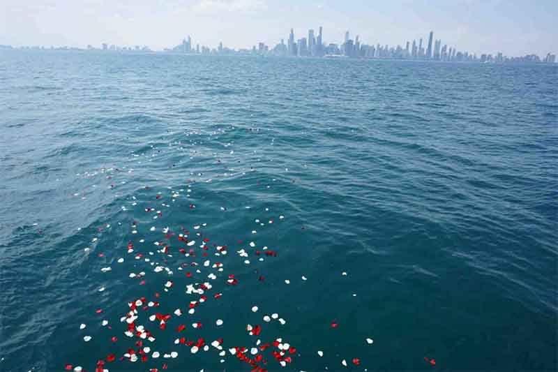 Ash Scattering on Lake Michigan Chicago