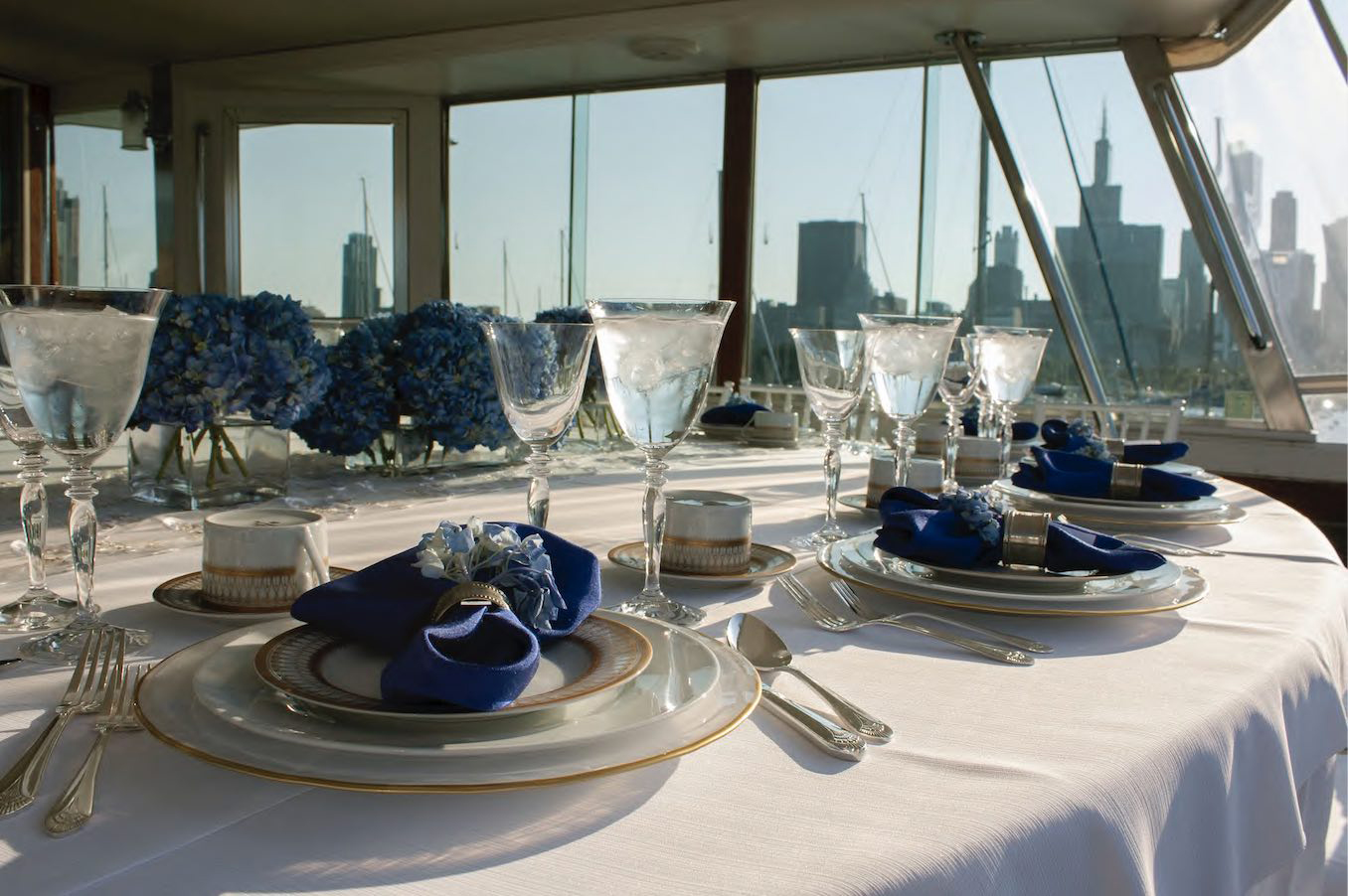 Priceless private yacht dining and dinner parties