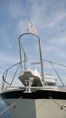 Chicago Private Yacht Rentals  Front of Boat with Chicago Flag 1